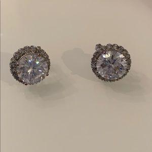 Kenneth Jay Lane large jacketed CZ stud earrings